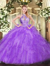 Lavender Lace Up Quinceanera Dresses Beading Sleeveless Floor Length