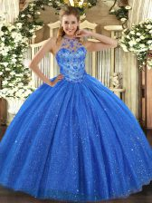 Best Blue Sleeveless Floor Length Beading and Embroidery Lace Up Sweet 16 Quinceanera Dress