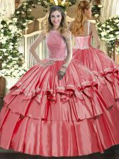 High-neck Sleeveless Quinceanera Gown Floor Length Beading and Ruffled Layers Coral Red Organza and Taffeta