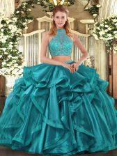 Halter Top Sleeveless Organza Sweet 16 Dresses Beading and Ruffled Layers Criss Cross