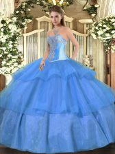 Shining Tulle Sweetheart Sleeveless Lace Up Beading and Ruffled Layers Sweet 16 Quinceanera Dress in Baby Blue