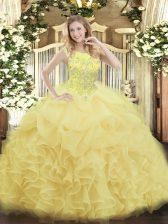 Floor Length Yellow Sweet 16 Dress Scoop Sleeveless Zipper