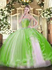 Ball Gowns Vestidos de Quinceanera Yellow Green Sweetheart Tulle Sleeveless Floor Length Lace Up