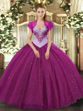 Exceptional Fuchsia Lace Up Quinceanera Gown Beading and Sequins Sleeveless Floor Length