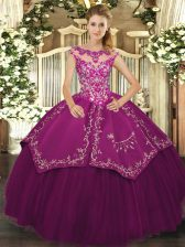 High End Scoop Cap Sleeves Lace Up Sweet 16 Dress Purple Satin and Tulle