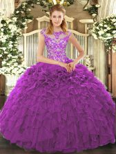 High End Organza Cap Sleeves Floor Length Ball Gown Prom Dress and Beading and Appliques and Ruffles
