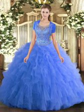 Adorable Baby Blue Ball Gowns Tulle Scoop Sleeveless Beading and Ruffled Layers Floor Length Clasp Handle 15 Quinceanera Dress