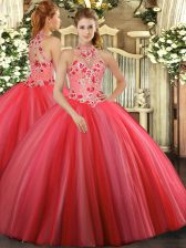 Coral Red Halter Top Lace Up Embroidery Sweet 16 Dress Sleeveless