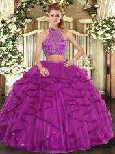 Fantastic Fuchsia Sleeveless Floor Length Beading and Ruffled Layers Criss Cross Quinceanera Dress