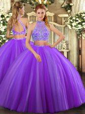 Pretty Halter Top Sleeveless Criss Cross 15 Quinceanera Dress Lavender Tulle