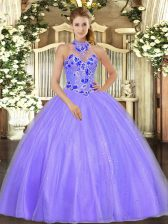 Lavender Lace Up Halter Top Embroidery Quince Ball Gowns Tulle Sleeveless