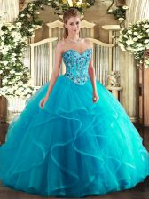 Floor Length Lace Up 15 Quinceanera Dress Aqua Blue for Military Ball and Sweet 16 and Quinceanera with Embroidery and Ruffles