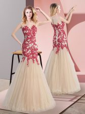 Nice Champagne Tulle Zipper Homecoming Dress Sleeveless Floor Length Appliques