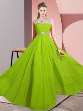 Floor Length Prom Dresses Chiffon Sleeveless Beading