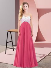 Sleeveless Chiffon Floor Length Criss Cross Homecoming Dress in Coral Red with Beading