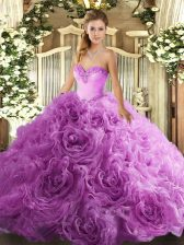 Traditional Sweetheart Sleeveless Fabric With Rolling Flowers Vestidos de Quinceanera Beading Lace Up