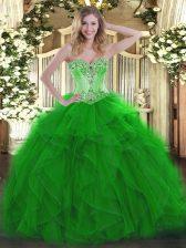 Green Organza Lace Up Sweet 16 Dress Sleeveless Floor Length Beading and Ruffles