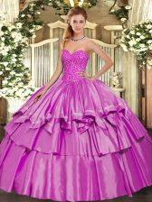 Organza and Taffeta Sweetheart Sleeveless Lace Up Beading and Ruffled Layers Sweet 16 Dresses in Lilac