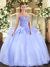 Sweetheart Sleeveless Organza Sweet 16 Dress Embroidery Lace Up