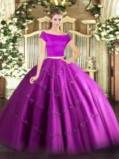 Gorgeous Fuchsia Short Sleeves Floor Length Appliques Zipper Sweet 16 Dress