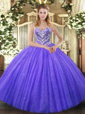 Purple Sleeveless Beading Floor Length Quinceanera Gown
