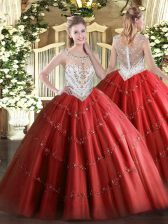 Red Ball Gowns Tulle Scoop Sleeveless Beading and Appliques Floor Length Zipper 15th Birthday Dress