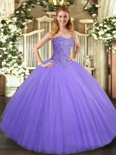 Tulle Sweetheart Sleeveless Lace Up Beading Vestidos de Quinceanera in Lavender