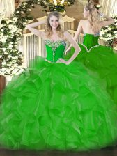 Green Sleeveless Beading and Ruffles Floor Length 15th Birthday Dress
