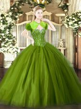 Olive Green Sweetheart Neckline Beading Quinceanera Gown Sleeveless Lace Up