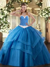 Popular Baby Blue Quinceanera Dress Military Ball and Sweet 16 and Quinceanera with Appliques and Ruffled Layers Sweetheart Sleeveless Lace Up