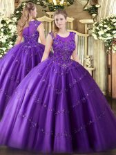 Hot Selling Purple Tulle Zipper Scoop Sleeveless Floor Length Sweet 16 Dresses Beading and Appliques