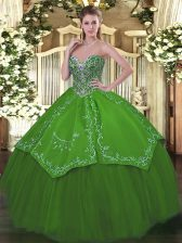 Green Vestidos de Quinceanera Military Ball and Sweet 16 and Quinceanera with Beading and Embroidery Sweetheart Sleeveless Lace Up