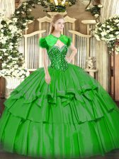 Latest Green Sleeveless Organza and Taffeta Lace Up Quinceanera Gowns for Military Ball and Sweet 16 and Quinceanera