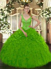 Deluxe Green Zipper Ball Gown Prom Dress Beading and Ruffles Sleeveless Floor Length
