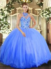 Top Selling Blue Halter Top Neckline Embroidery Sweet 16 Dresses Sleeveless Lace Up