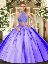 Classical Lavender Two Pieces Tulle Halter Top Sleeveless Beading Floor Length Criss Cross Quinceanera Dress