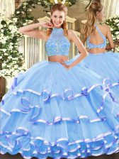 Sleeveless Tulle Floor Length Criss Cross Sweet 16 Dresses in Aqua Blue with Beading and Ruffled Layers