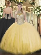 Gold Ball Gowns Tulle Halter Top Sleeveless Beading Floor Length Lace Up 15 Quinceanera Dress