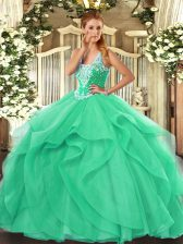 Exquisite Turquoise Lace Up Straps Beading and Ruffles 15 Quinceanera Dress Tulle Sleeveless
