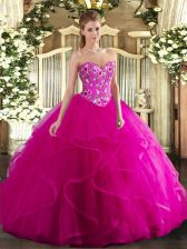 Smart Fuchsia Tulle Lace Up 15th Birthday Dress Sleeveless Floor Length Embroidery and Ruffles