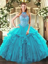 Floor Length Teal Quinceanera Dresses Halter Top Sleeveless Lace Up