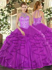 Custom Designed Purple Halter Top Lace Up Beading and Ruffles Quinceanera Dresses Sleeveless