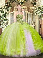 Beauteous Yellow Green Tulle Lace Up Sweetheart Sleeveless Floor Length Sweet 16 Dress Beading and Ruffles