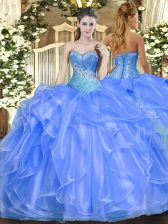 Baby Blue Sleeveless Organza Lace Up Quinceanera Gowns for Military Ball and Sweet 16 and Quinceanera
