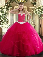 Sweetheart Sleeveless Ball Gown Prom Dress Floor Length Appliques and Ruffles Hot Pink Tulle