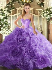 Floor Length Lace Up Quinceanera Dresses Lavender for Military Ball and Sweet 16 and Quinceanera with Beading