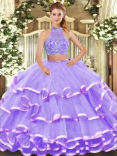 Flare Halter Top Sleeveless Quince Ball Gowns Floor Length Beading and Ruffled Layers Lavender Tulle