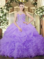 Customized Organza Sleeveless Floor Length Quinceanera Dresses and Beading and Ruffles and Pick Ups