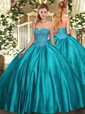 Popular Sweetheart Sleeveless Satin Ball Gown Prom Dress Beading Lace Up