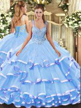 Ball Gowns Vestidos de Quinceanera Blue Straps Organza Sleeveless Floor Length Lace Up